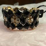 J. Crew Jewelry | Nwt Jcrew Black-Gold Crystal Stretch Bracelet | Color: Black/Gold | Size: Os