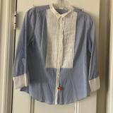 J. Crew Tops | J Crew 34 Sleeve Blue Striped Tuxedo Shirt | Color: Blue/White | Size: 6
