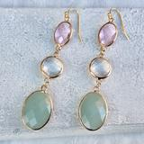 Anthropologie Jewelry | Multi Stone Drop Earrings +Anthropologie Gift Bag | Color: Gold | Size: Os