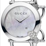 Gucci Jewelry   Gucci Mother Of Pearl And Diamond Bangle Watch   Color: Silver/White   Size: Approx. 7 L