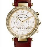 Michael Kors Accessories   Michael Kors Womens Gold Tone Leather Watch   Color: Brown/Gold   Size: Os