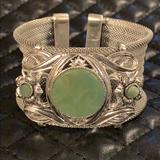 Free People Jewelry | Free People Boho Gypsy Silver Stone Cuff Bracelet | Color: Green/Silver | Size: Os