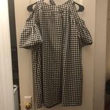 Zara Dresses | Gingham Babydoll Dress With Pockets | Color: Black/White | Size: S