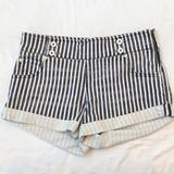 Free People Shorts | Free People Short Short Zipper On Side. Size 28 | Color: Blue/White | Size: 28