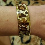 Coach Jewelry | Coach Ocelot Gold Tone Bangle Bracelet Like New!! | Color: Brown/Tan | Size: Os