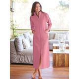 Women's Long Zip-Front Fleece Robe, Cashmere Rose Pink L Misses