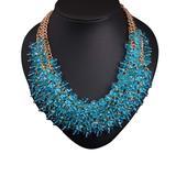 Ella & Elly Women's Necklaces Blue - Blue Crystal & Goldtone Beaded Multi-Strand Statement Necklace
