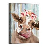 Country Farmhouse canvas Printing Rustic Bedroom Decor Retro Cow Wall Art Home artwork Print Used in Bathroom Office fireplace kitchen Dining Room Decorate Cattle With Garland (12inchx16inch) …