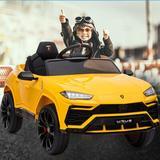 Bellupai Lamborghini Children Ride on Car Plastic in Yellow, Size 20.47 H x 25.59 W x 41.34 D in   Wayfair ORW42215467