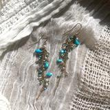 Anthropologie Jewelry   Anthropologie Earrings Turquoise Pearl Chain   Color: Gold   Size: Os