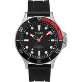 Timex Men's Allied Coastline 43mm Quartz Silicone Strap, Black, 20 Casual Watch (Model: TW2T30000)