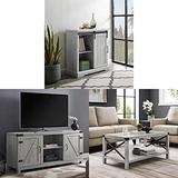 Walker Edison Furniture Modern Farmhouse Buffet Entryway Bar Cabinet Storage, 32 Inch, Grey with Wood Universal Stand for TV's and Metal and Wood Rectangle Accent Coffee Table