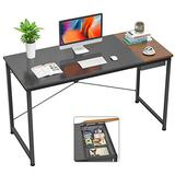 Foxemart Computer Desk, 39 Inch Study Writing Desk for Home Office Workstation, Modern Simple Style Laptop Table with Storage Bag/Drawer, Black and Espresso