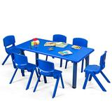HONEY JOY Kids Table and 6 Chair Set, 47 x 23.5 Inch Children Rectangular Table with Stackable Seats, 7 Pcs Plastic Activity Toddler Furniture Set for Playroom Daycare, Gift for Boys Girls