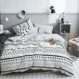 CLOTHKNOW White Black Boho Comforter Set Queen Farmhouse Bedding Set Full Aztec Art Bedding Sets Full Women Men Bohemian Bedding Striped Triangle Geometric Bedding 3Pcs Comforter Set Queen/Full