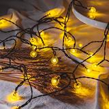 Solar String Lights Outdoor,2-Pick(Total 100 LED 62FT)Solar Powered String Lights,IP65 Waterproof Outdoor String Lights for 8 Models,LED Solar Globe Outdoor String Lights(Warm White)