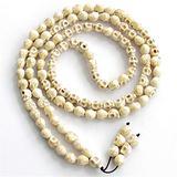 Regeek Strand Bracelets - Natural Gem Stone Howlite Beads Hand Carved Skull Tibetan Buddhist 108 Prayer Beaded Mala Bracelet or Necklace 108mm