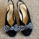 Nine West Shoes | Gingham Bow Peeptoe Heels | Color: Black/White | Size: 7.5