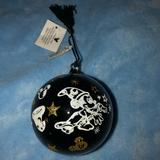 Disney Holiday | Mickey Mouse Sorcerer Black Glass Ornament Nwt | Color: Black/Gold | Size: Os