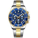 Watches Mens Luxury Two Tone Watch Silver Tone Stainless Steel Watch Luminous Quartz Wrist Watch (Blue)