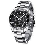 Watches Mens Luxury Two Tone Watch Silver Tone Stainless Steel Watch Luminous Quartz Wrist Watch (Black)