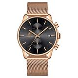 Men's Watch Fashion Sleek Minimalist Quartz Analog Mesh Stainless Steel Waterproof Chronograph Watches, Auto Date in Gold Hands, Color: Rose Gold Black