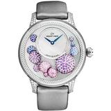 Jaquet Droz Women's 'Petite Heure' Automatic Watch - Mother of Pearl Dial with Blue Hands - Sapphire Crystal and Grey Satin Leather Strap - L'heure Celeste J005024538