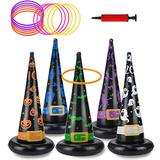 Halloween Party Toys Games, Inflatable Witch Hat Ring Toss Game with Points, Plastic Ring Toss, Air Pump Halloween Carnival Indoor Outdoor Game Garden Toys for Kids Adults Family Games Supplies