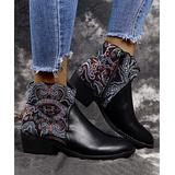 ROSY Women's Casual boots Black - Black & Blue Paisley-Contrast Ankle Boot - Women