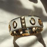 Coach Jewelry | Coach Cream & Gold Tone Bangle | Color: Cream/Gold | Size: Os