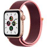 Apple Watch SE GPS + Cellular, 40mm, Gold Aluminum, Plum Sport Loop Band MYEC2LL/A