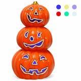 Costway Halloween 3-Tier Color-Changing Lighted Ceramic Pumpkin Lantern