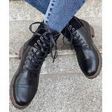 PAOTMBU Women's Casual boots BLACK - Black Buckle-Accent Combat Boot - Women