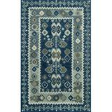 Momeni Oriental Handmade Wool Blue/Beige Area Rug Wool in Blue/White, Size 162.0 H x 114.0 W x 0.5 D in   Wayfair TANGITAN-1BLU96D6