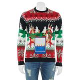 Men's Holiday Happy Hour Christmas Sweater With Drink Pocket, Size: Large, Red Overfl
