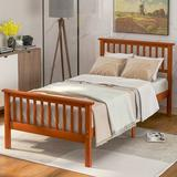 Red Barrel Studio® Aiven Solid Wood Twin Platform Bed Wood in Brown/Green, Size 42.9 W x 80.2 D in | Wayfair 45B1C2E141584FF29012B5C1D8A8C683