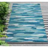 Highland Dunes Theriot Abstract Handmade Tufted Turquoise Indoor/Outdoor Area Rug Polyester in Blue, Size 42.0 W x 0.37 D in | Wayfair