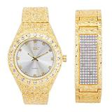 Mens Blinged Out Gold Tone 44mm Nugget Band Watch with Bust Down Diamonds (Quartz Movement) + 21mm Nugget ID Bracelet with 7-Row CZ Crystals - Watch and Bracelet Combo Inspired by Hip Hop Jewelry