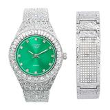 Mens Blinged Out Silver Tone 44mm Nugget Band Watch with Bust Down Diamonds (Quartz Movement) + 21mm Nugget ID Bracelet with 7-Row CZ Crystals- Watch and Bracelet Combo Inspired by Hip Hop Jewelry