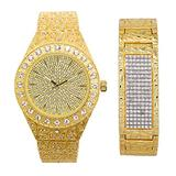 Mens Blinged Out Gold Tone 44mm Nugget Band Watch with Bust Down Diamonds (Quartz Movement) + 21mm Nugget ID Bracelet with 7-Row CZ Crystals- Watch and Bracelet Combo Inspired by Hip Hop Jewelry