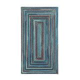 """Capel American Heritage Barn Blue 0' 24"""" x 0' 36"""" Concentric Rectangle Braided Rug"""