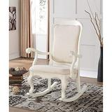 SSLine Wood Rocking Chair Elegant Antique White Rocker Chairs with Padded Seat and Back Indoor Outdoor Porch Rockers for Living Room Nursery Patio Deck Balcony