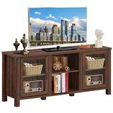 """Tangkula Farmhouse TV Stand, Living Room Console Storage Cabinet for TVs up to 65"""" Flat Screen, Wood Media Entertainment Center w/Adjustable Shelves, 2 Cabinets with Tempered Glass Doors (Walnut)"""