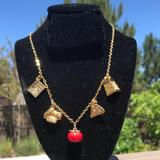 J. Crew Jewelry | J.Crew Whimsical Gold Tone Italian Chef Necklace | Color: Gold/Red | Size: Os