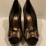 Gucci Shoes | Gucci Horsebit Brown Bronze Metallic Leather Pumps | Color: Brown | Size: 10