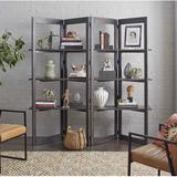 "Joss & Main Cowles 78"" H x 75"" W Geometric Bookcase Wood in Brown, Size 78.0 H x 75.0 W x 17.5 D in   Wayfair 24D22207293F4F35AF689EB2AAB0C3B9"