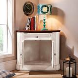 Rosalind Wheeler Herren 2 Door Corner Accent Cabinet Wood in Brown/Red/White, Size 31.7 H x 35.0 W x 24.8 D in | Wayfair