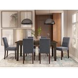 Andover Contemporary 7 Pc Dining Set with 6 Upholstered Dining Chairs in Slate Grey Linen Look Fabric and 66 inch Wide Table - Simpli Home AXCDS7AN-SGL