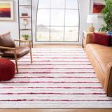 Highland Dunes Levine Striped Handmade Flatweave Red Area Rug Polyester/Cotton in White, Size 36.0 W x 0.31 D in | Wayfair