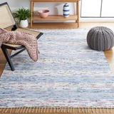 Highland Dunes Leonard Striped Handmade Flatweave Blue/Ivory Area Rug Polyester/Cotton in White, Size 72.0 W x 0.31 D in | Wayfair